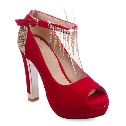 Fashionable Sequins and Ankle Strap Design Peep Toe Shoes For Women - RED 36