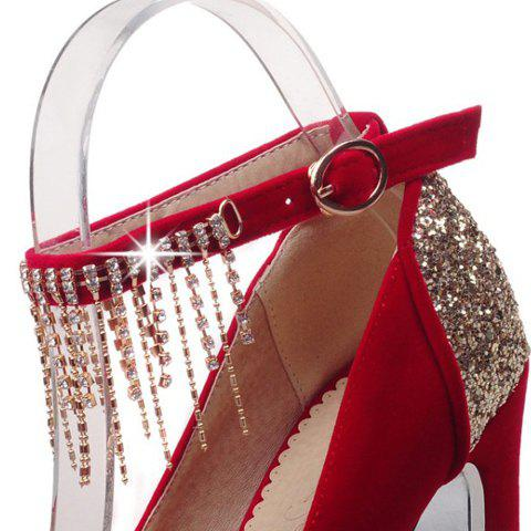 Fashionable Sequins and Ankle Strap Design Peep Toe Shoes For Women - RED 37