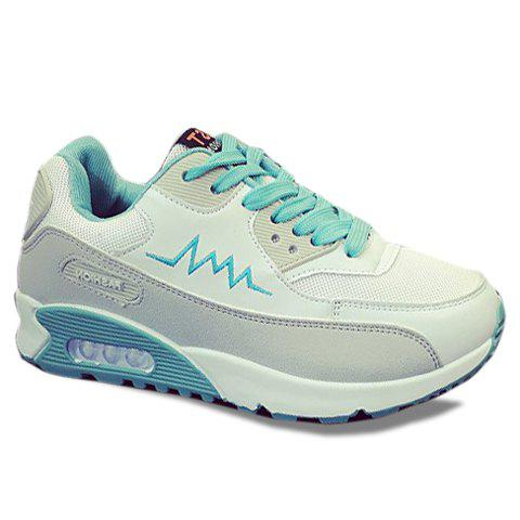 Trendy Lace-Up and Splicing Design Women's Athletic Shoes - LIGHT BLUE 40