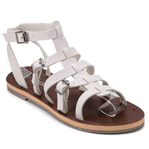 Leisure Flat Heel and Buckles Design Women's Sandals - WHITE 38