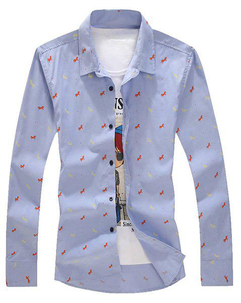 Turn-Down Collar Horses Printed Long Sleeve Shirt For Men - BLUE 5XL