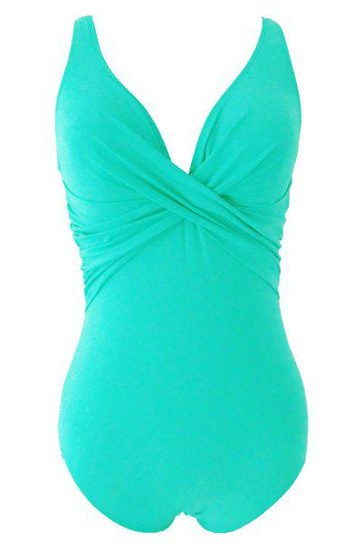 Trendy Halter Backless Candy Color One Piece Swimwear For Women - LIGHT GREEN S
