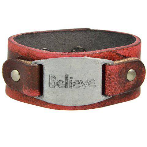 Faux Leather Believe Letter Engraved Bracelet - RED
