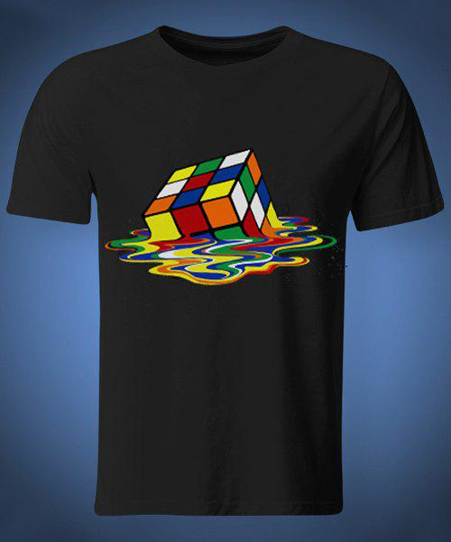 Funny Round Neck Rubik's Cube Print Short Sleeves Men's 3D Thin T-Shirt - BLACK M