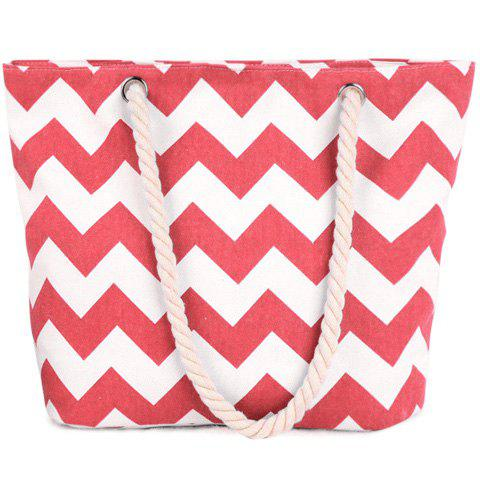 Casual Wavy Stripes and Color Block Design Women's Shoulder Bag - WATERMELON RED