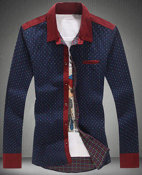 Turn-Down Collar Embroidery Spliced Design Long Sleeve Shirt For Men - CADETBLUE L