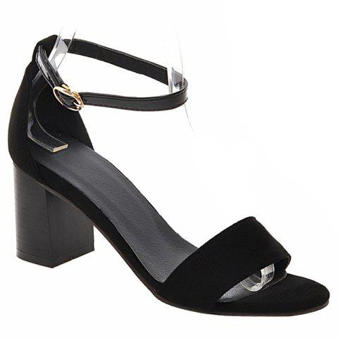 Stylish Ankle Strap and Suede Design Women's Sandals - BLACK 38