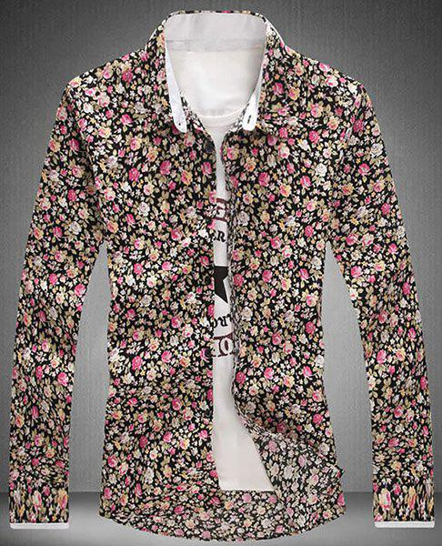 Turn-Down Collar Tiny Flower Printed Long Sleeve Shirt For Men - M YELLOW