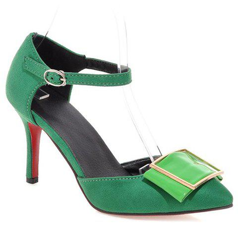 Trendy Solid Color and Pointed Toe Design Pumps For Women - GREEN 36