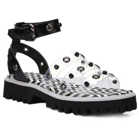 Stylish Rivets and Transparent Plastic Design Women's Sandals - TRANSPARENT 37
