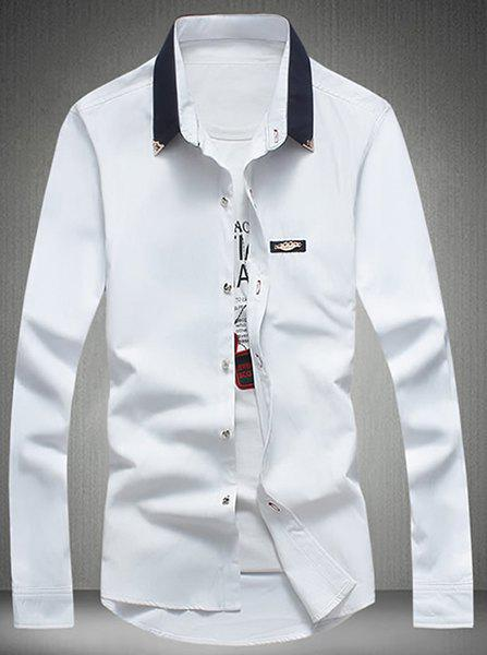 Turn-Down Collar Metal Detail Embellished Long Sleeve Shirt For Men - WHITE M