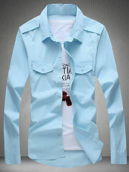 Turn-Down Collar Epaulet Design Solid Color Long Sleeve Men's Shirt - LIGHT BLUE 5XL