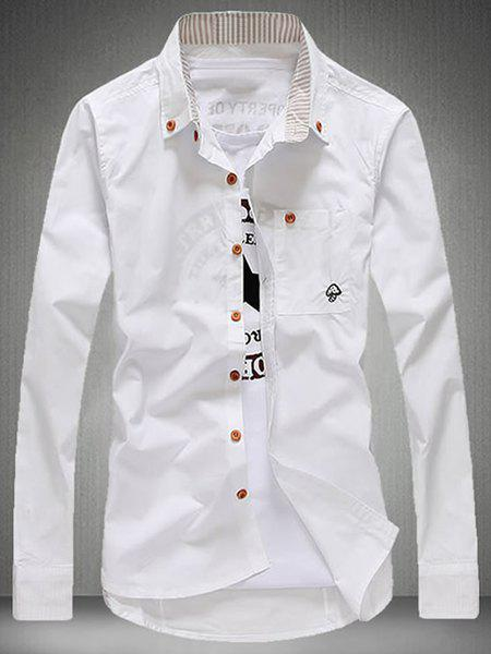 Modish Turn-Down Collar Patch Pocket Long Sleeve Men's Shirt