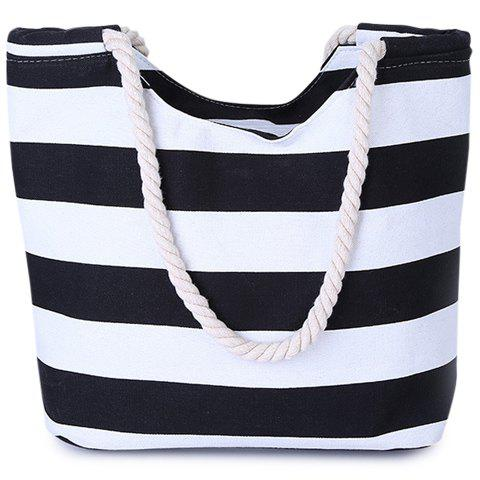 Leisure Color Block and Striped Design Women's Shoulder Bag - BLACK
