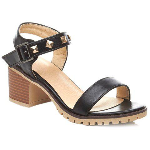 Fashionable Chunky Heel and Rivets Design Sandals For Women - BLACK 38