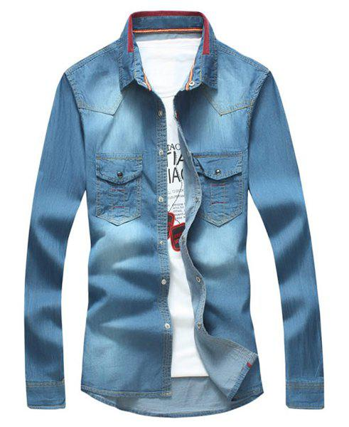 Turn-Down Collar Rib Splicing Design Long Sleeve Denim Shirt For Men