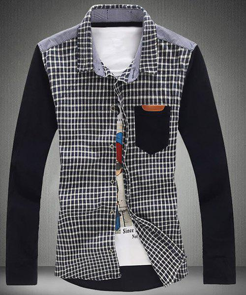 Modish Turn-Down Collar Tartan Print Splicing Long Sleeve Men's Shirt - CADETBLUE 5XL