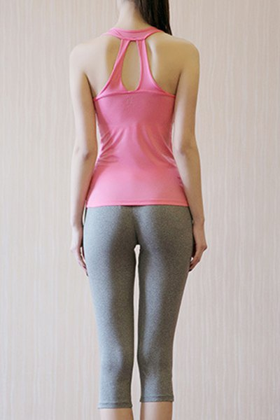 Fashionable Women's Scoop Neck Padded Top and Capri Yoga Pants Suit - PINK L