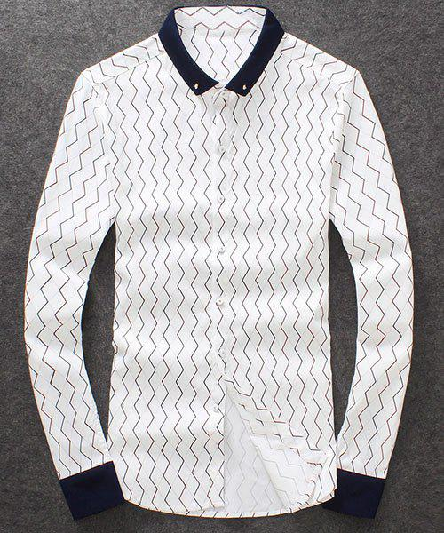 Fashion Single Breasted Turn Down Collar Checked Printed Shirt For Men - WHITE M