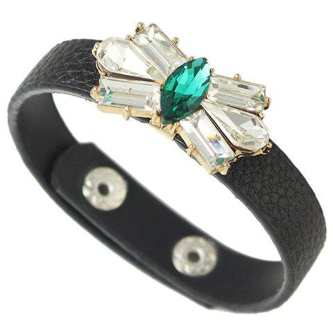 Chic Faux Leather Artificial Crystal Geometric Bracelet For Women - GREEN