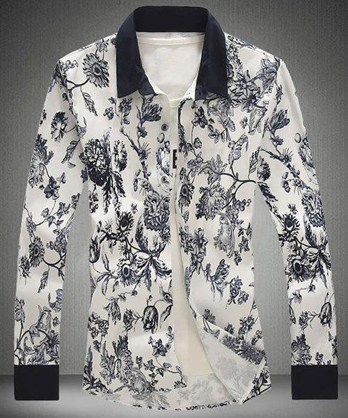Modish Turn-Down Collar Floral Print Shirt manches longues hommes - multicolorcolore 4XL