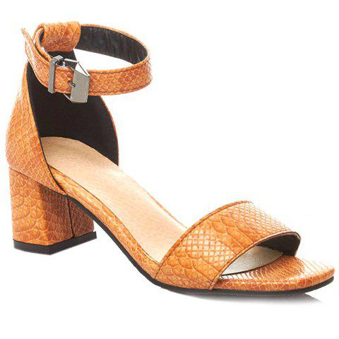 Stylish Ankle Strap and Embossing Design Sandals For Women