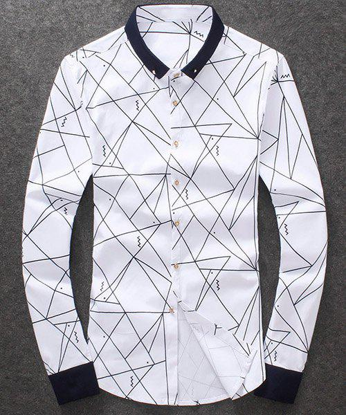 Fashion Turn Down Collar Single Breasted Line Printed Shirt For Men - WHITE 2XL