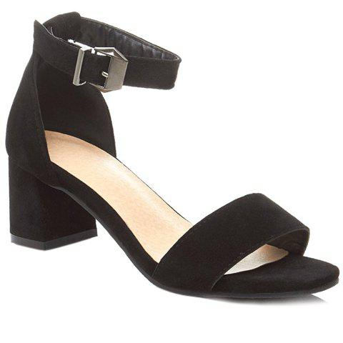Trendy Chunky Heel and Black Color Design Sandals For Women - BLACK 38