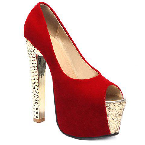Fashionable Platform and Flock Design Women's Peep Toe Shoes - RED 37