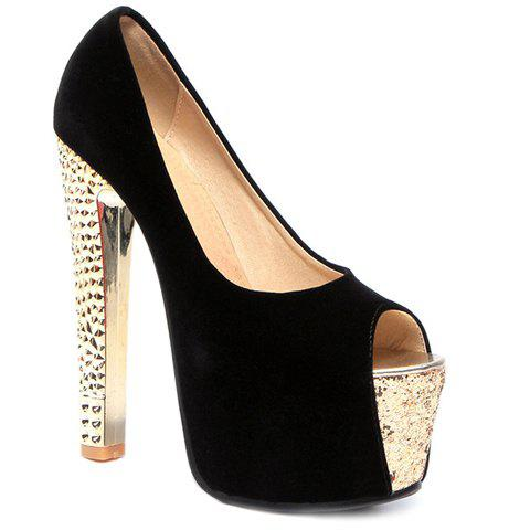 Fashionable Platform and Flock Design Women's Peep Toe Shoes