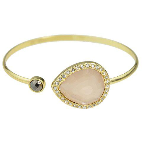 Rhinestoned Faux Gem Water Drop Cuff Bracelet - PINK