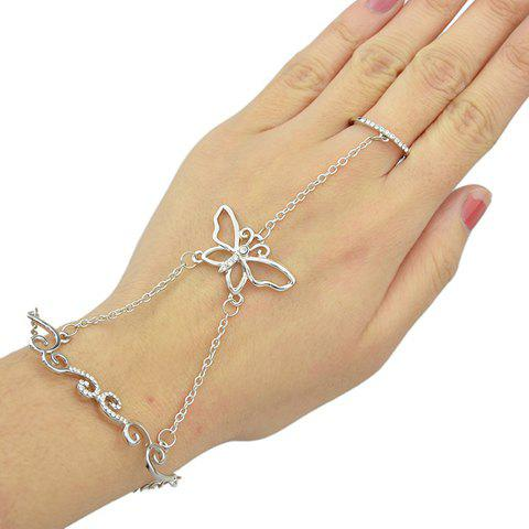 Butterfly Rhinestoned Bracelet With Ring - SILVER