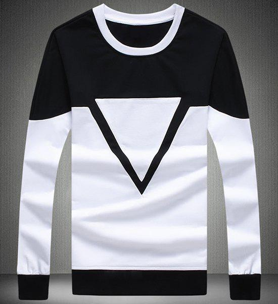 Round Neck Triangle Print Color Block Spliced Long Sleeve Sweatshirt For Men - BLACK M