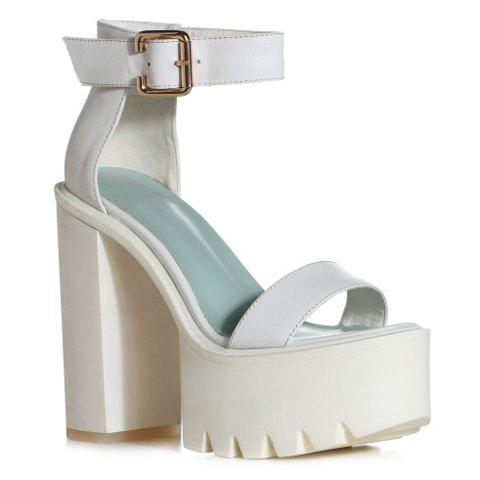 Trendy Buckle Strap and Chunky Heeled Design Sandals For Women - WHITE 38