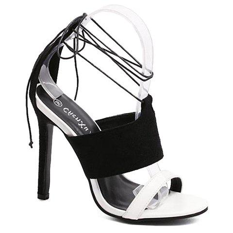 Stylish Color Block and Lace-Up Design Women's Sandals - BLACK 38