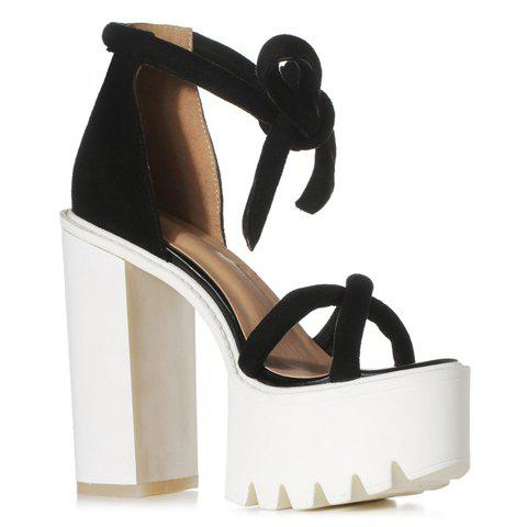 Trendy Suede and Lace-Up Design Sandals For Women - BLACK 38