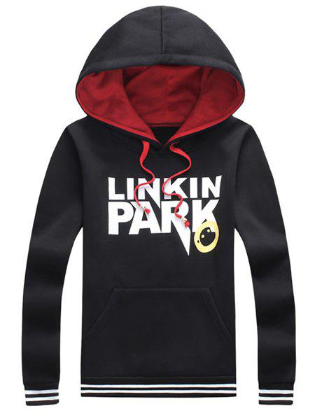 Hooded Letters and Cartoon Print Striped Spliced Long Sleeve Hoodie For Men - BLACK 5XL