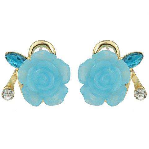 Pair of Floral Rhinestone Hollow Out Earrings - BLUE