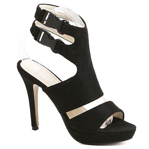 Stylish Flock and Stiletto Heel Design Women's Sandals - BLACK 39