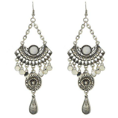 Pair of Alloy Water Drop Hollow Out Earrings - WHITE