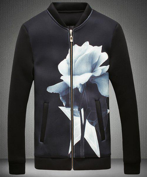 Stand Collar 3D Flower Printed Zipper Design Long Sleeve Sweatshirt For Men