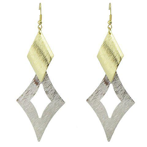 Pair of Graceful Geometric Hollow Out Earrings For Women - GOLDEN