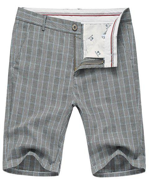 Color Block Plaid Fitted Straight Leg Zipper Fly Men's Thin Shorts - CHECKED 30