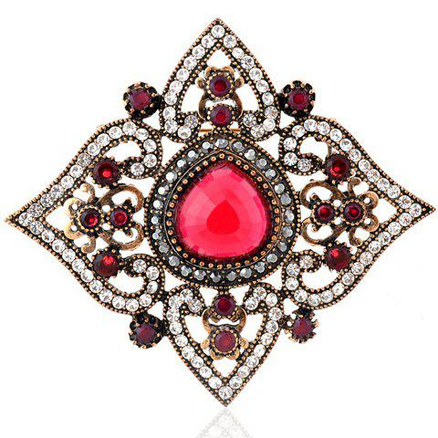 Stylish Rhinestoned Rhombus Brooch For Women - RED