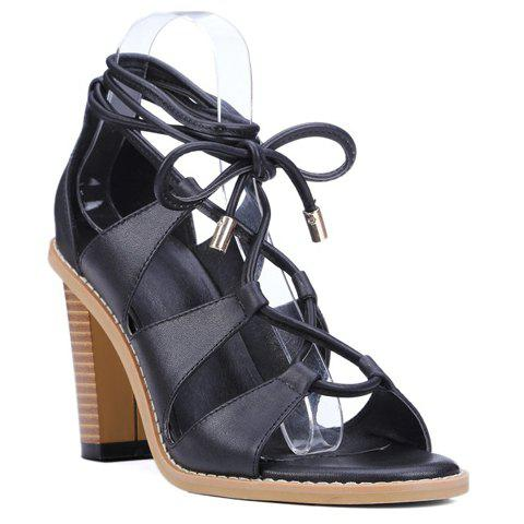 Casual Lace-Up and Chunky Heeled Design Sandals For Women - BLACK 38