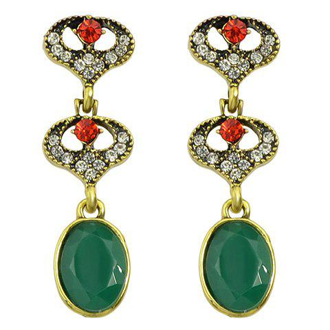 Pair of Stunning Rhinestone Oval Earrings For Women - GREEN
