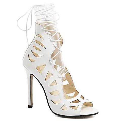 Party Hollow Out and Lace-Up Design Women's Sandals - WHITE 35