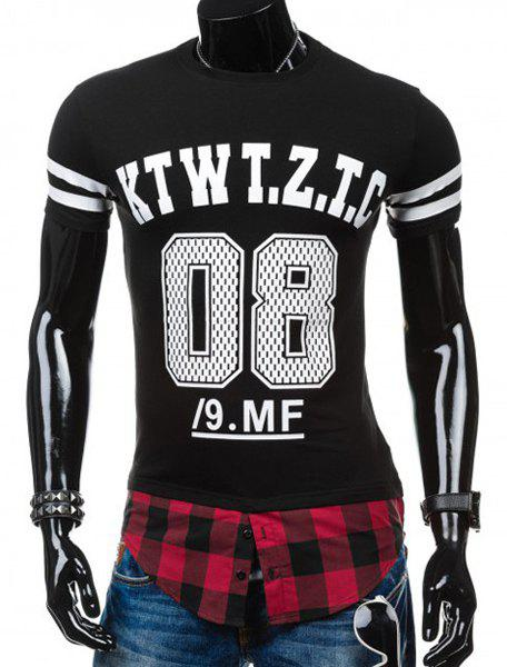 Round Neck Letters Number Pattern Print Plaid Spliced False Twinset Short Sleeve Men's T-Shirt - BLACK M