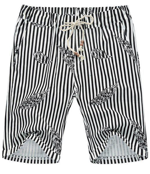 Thin Feather Print Loose Fit Straight Leg Lace-Up Men's Striped Shorts - BLACK 3XL