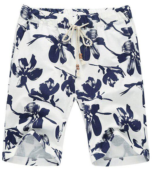 Loose Fit Thin Straight Leg Lace-Up Men's Floral Shorts - BLUE XL
